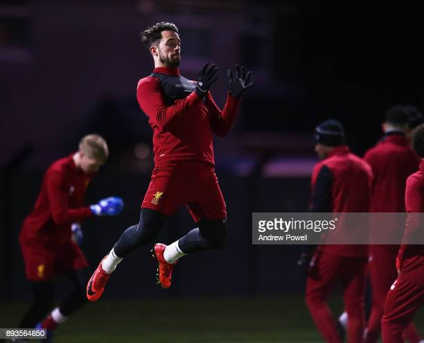 Danny Ings of Liverpool during a training session at Melwood Training Ground on December 15 2017 in Liverpool England