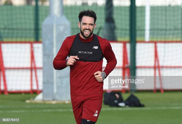 Danny Ings of Liverpool during a training session at Melwood Training Ground on January 10 2018 in Liverpool England