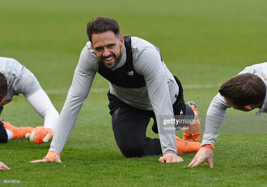 Danny Ings of Liverpool during a training session at Melwood Training Ground on April 3, 2018 in Liverpool, England.