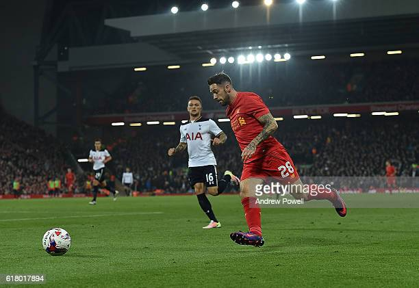 Danny Ings of Liverpool during the EFL Cup fourth round match between Liverpool and Tottenham Hotspur at Anfield on October 25 2016 in Liverpool...