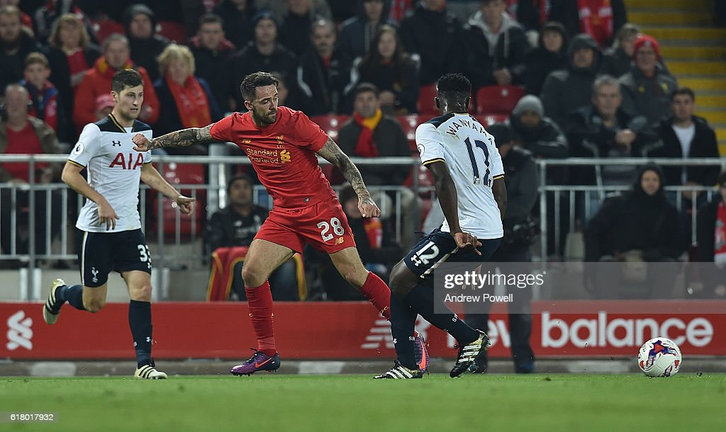 Danny Ings of Liverpool during the EFL Cup fourth round match between Liverpool and Tottenham Hotspur at Anfield on October 25, 2016 in Liverpool, England.