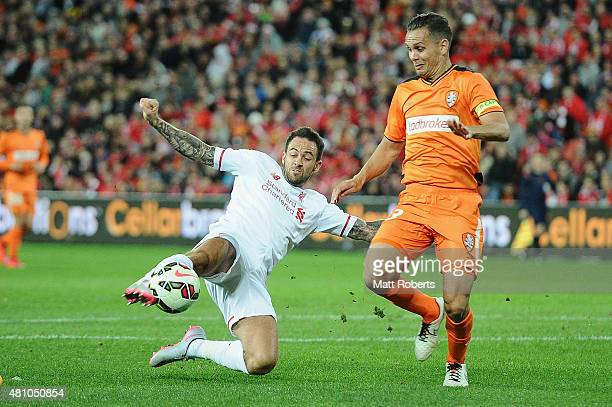 Danny Ings of Liverpool FC attempts a strike at goal during the international friendly match between Brisbane Roar and Liverpool FC at Suncorp...