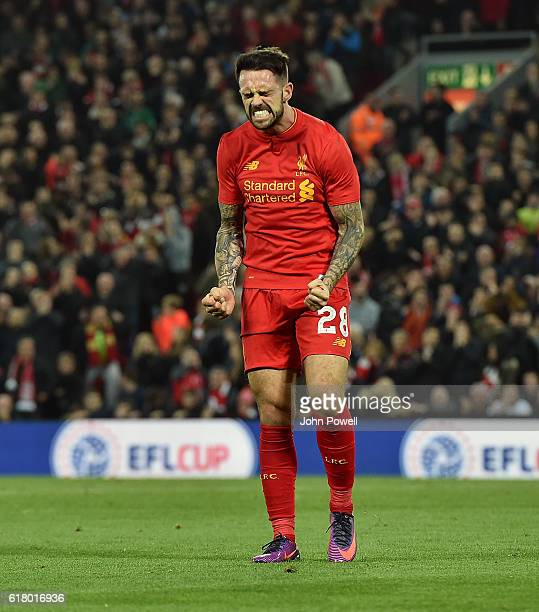 Danny Ings of Liverpool frustrated during the EFL Cup fourth round match between Liverpool and Tottenham Hotspur at Anfield on October 25 2016 in...