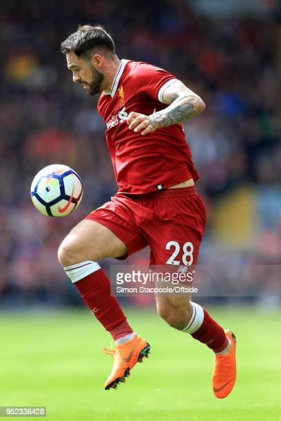 Danny Ings of Liverpool in action during the Premier League match between Liverpool and Stoke City at Anfield on April 28 2018 in Liverpool England