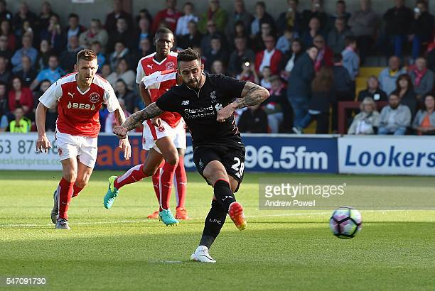 Danny Ings of Liverpool misses a penalty during the PreSeason Friendly match bewteen Fleetwood Town and Liverpool at Highbury Stadium on July 13 2016...