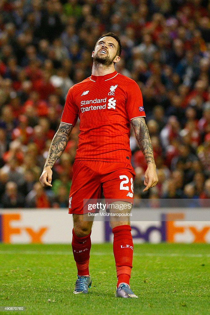 Danny Ings of Liverpool reacts during the UEFA Europa League group B match between Liverpool FC and FC Sion at Anfield on October 1, 2015 in Liverpool, United Kingdom.