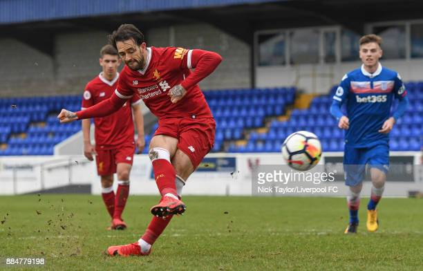 Danny Ings of Liverpool scores from the penalty spot during the Liverpool v Stoke City Premier League Cup game at The Swansway Chester Stadium on...