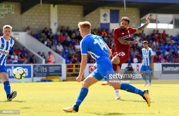 Danny Ings of Liverpool scoring a goal during the Preseason friendly between Chester FC and Liverpool on July 7 2018 in Chester United Kingdom