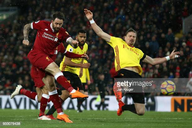 Danny Ings of Liverpool shoots and misses during the Premier League match between Liverpool and Watford at Anfield on March 17 2018 in Liverpool...