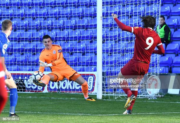 Danny Ings of Liverpool watches as his shot is saved by Eldin Jakupovic of Leicester City during the Liverpool v Leicester City PL2 game at Prenton...