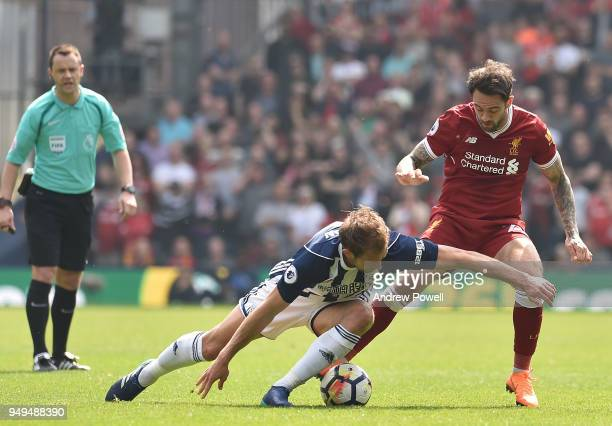Danny Ings of Liverpool with Craig Dawson of west Bromwich during the Premier League match between West Bromwich Albion and Liverpool at The...