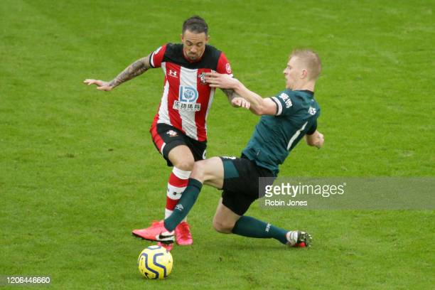 Danny Ings of Southampton and Ben Mee of Burnley during the Premier League match between Southampton FC and Burnley FC at St Mary's Stadium on...