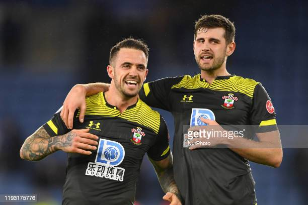 Danny Ings of Southampton and Jack Stephens of Southampton celebrates victory during the Premier League match between Leicester City and Southampton...