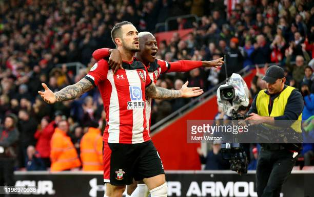 Danny Ings of Southampton and Moussa Djenepo celebrate during the Premier League match between Southampton FC and Tottenham Hotspur at St Mary's...