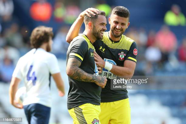 Danny Ings of Southampton celebrates a goal during the Pre-Season Friendly match between Preston North End and Southampton at Deepdale on July 20,...