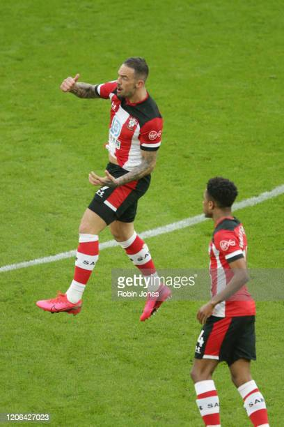 Danny Ings of Southampton celebrates a goal to make it 11 and celebrates with teammate Kyle WalkerPeters during the Premier League match between...