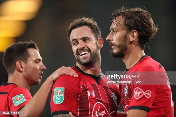 Danny Ings of Southampton celebrates after scoring a goal to make it 10 during the Carabao Cup Third Round match between Everton and Southampton at...