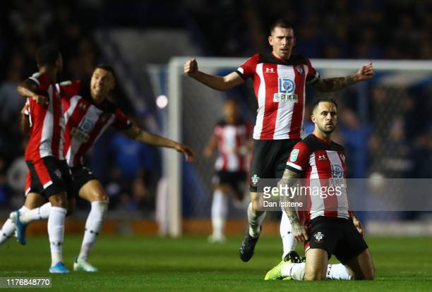 Danny Ings of Southampton celebrates after scoring his sides first goal during the Carabao Cup Third Round match between Portsmouth and Southampton...