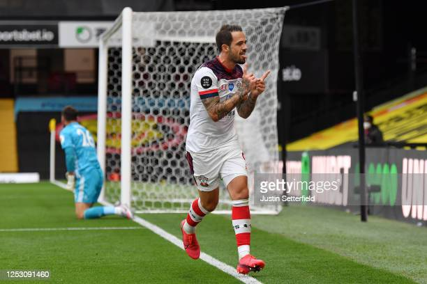 Danny Ings of Southampton celebrates after scoring his sides second goal during the Premier League match between Watford FC and Southampton FC at...