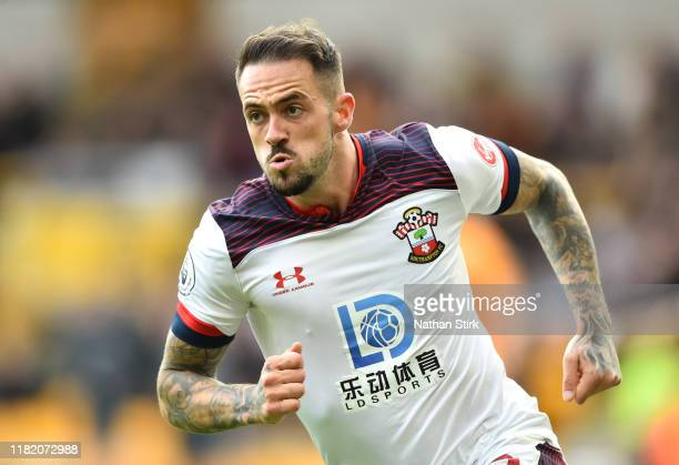 Danny Ings of Southampton celebrates after scoring his team's first goal during the Premier League match between Wolverhampton Wanderers and...
