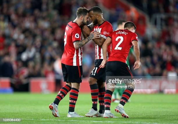 Danny Ings of Southampton celebrates after scoring his team's second goal with Ryan Bertrand of Southampton during the Premier League match between...