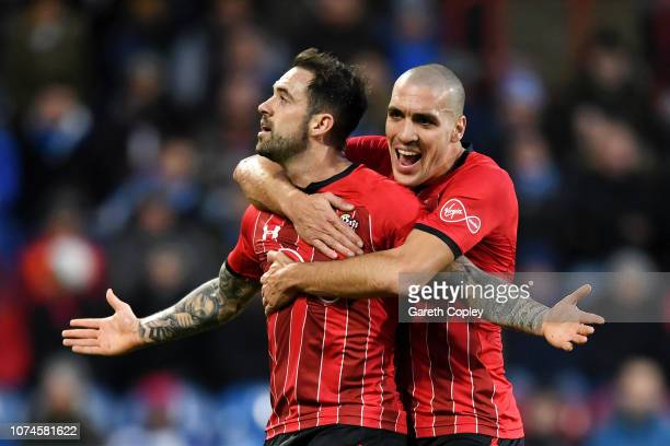 Danny Ings of Southampton celebrates after scoring his team's second goal with Oriol Romeu of Southampton during the Premier League match between...