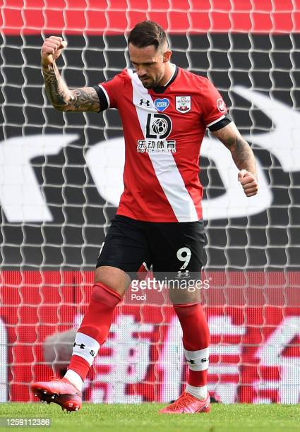Danny Ings of Southampton celebrates after scoring his team's third goal during the Premier League match between Southampton FC and Sheffield United...