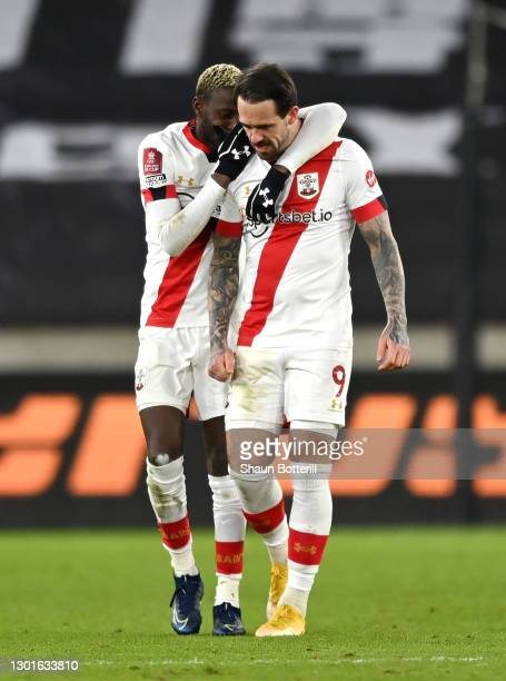 Danny Ings of Southampton celebrates after scoring their sides first goal with team mate Moussa Djenepo during The Emirates FA Cup Fifth Round match...