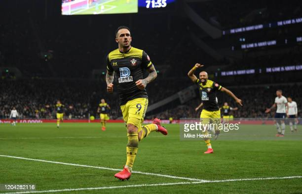 Danny Ings of Southampton celebrates after scoring their sides second goal during the FA Cup Fourth Round Replay match between Tottenham Hotspur and...