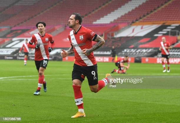 Danny Ings of Southampton celebrates after scoring their team's first goal during the Premier League match between Southampton and Wolverhampton...