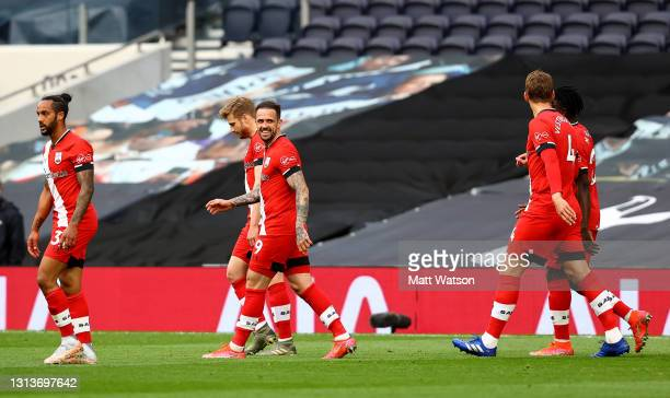 Danny Ings of Southampton celebrates during the Premier League match between Tottenham Hotspur and Southampton at Tottenham Hotspur Stadium on April...