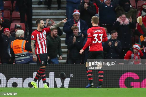 Danny Ings of Southampton celebrates with teammate Matt Targett after scoring his team's second goal during the Premier League match between...