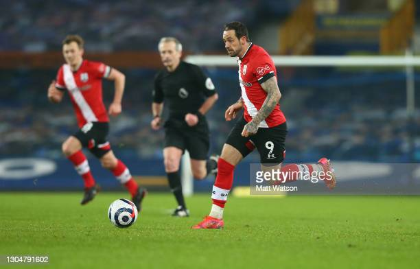 Danny Ings of Southampton controls the ball during the Premier League match between Everton and Southampton at Goodison Park on March 01, 2021 in...