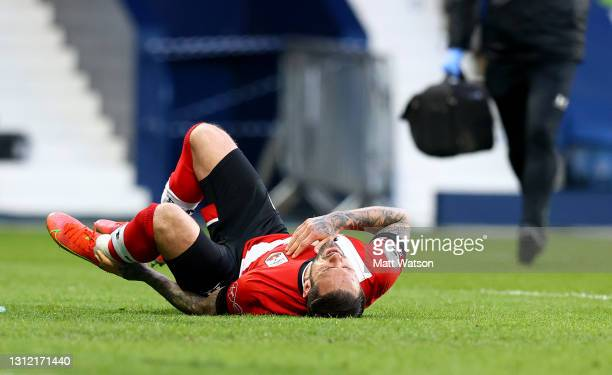 Danny Ings of Southampton down injured during the Premier League match between West Bromwich Albion and Southampton at The Hawthorns on April 12,...