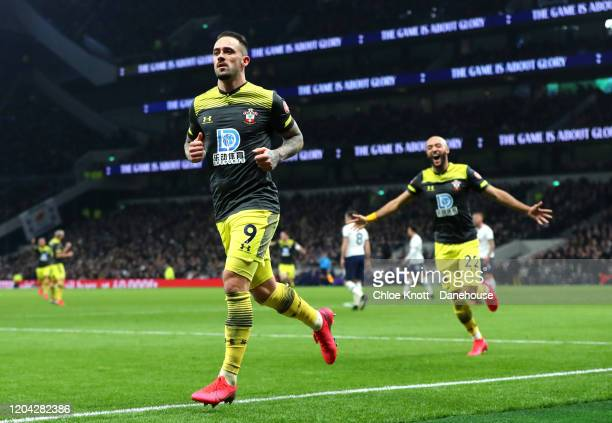 Danny Ings of Southampton FC celebrates scoring his teams second goal during the FA Cup Fourth Round Replay match between Tottenham Hotspur and...