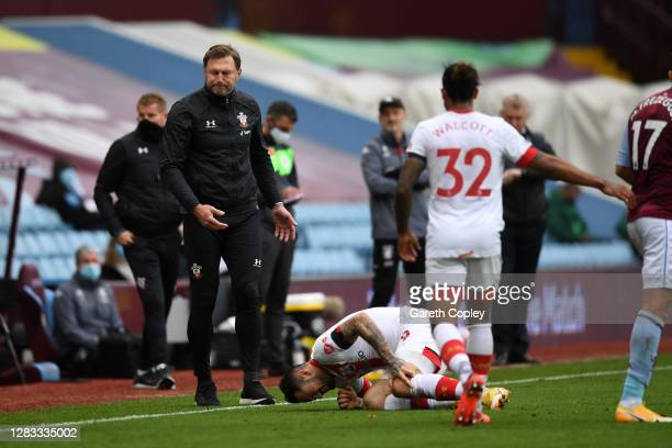 Danny Ings of Southampton goes down injured during the Premier League match between Aston Villa and Southampton at Villa Park on November 01, 2020 in...