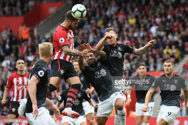 Danny Ings of Southampton heads over during the Premier League match between Southampton FC and Burnley FC at St Mary's Stadium on August 12 2018 in...