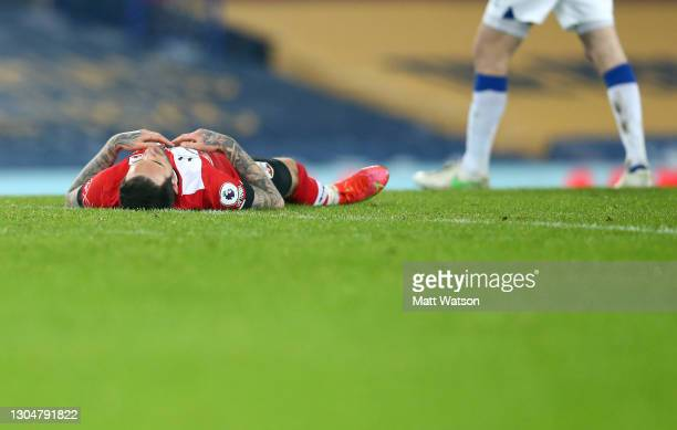 Danny Ings of Southampton reacts during the Premier League match between Everton and Southampton at Goodison Park on March 01, 2021 in Liverpool,...