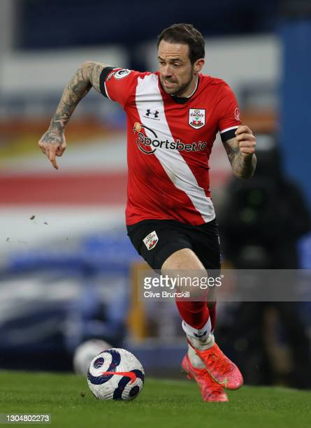 Danny Ings of Southampton runs with the ball during the Premier League match between Everton and Southampton at Goodison Park on March 01, 2021 in...
