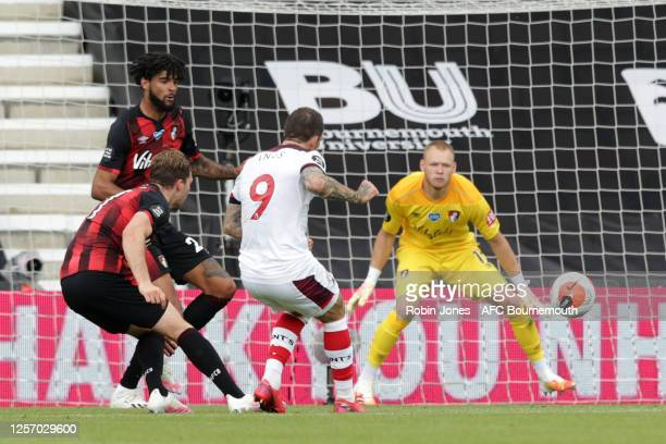 Danny Ings of Southampton scores a goal to make it 1-0 during the Premier League match between AFC Bournemouth and Southampton FC at Vitality Stadium...