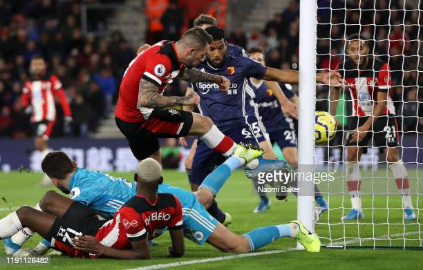 Danny Ings of Southampton scores his team's first goal during the Premier League match between Southampton FC and Watford FC at St Mary's Stadium on...