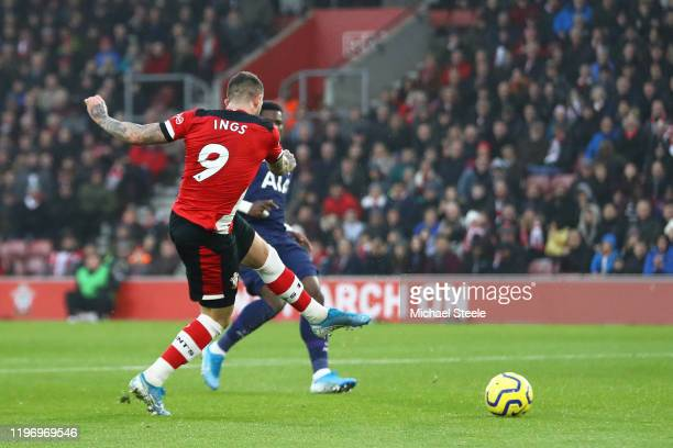 Danny Ings of Southampton scores his team's first goal during the Premier League match between Southampton FC and Tottenham Hotspur at St Mary's...