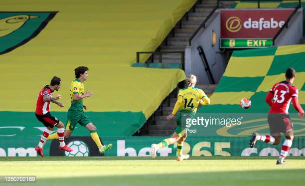 Danny Ings of Southampton scores his team's first goal during the Premier League match between Norwich City and Southampton FC at Carrow Road on June...