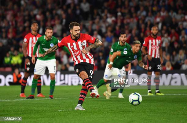 Danny Ings of Southampton scores his team's second goal from a penalty during the Premier League match between Southampton and Brighton Hove Albion...