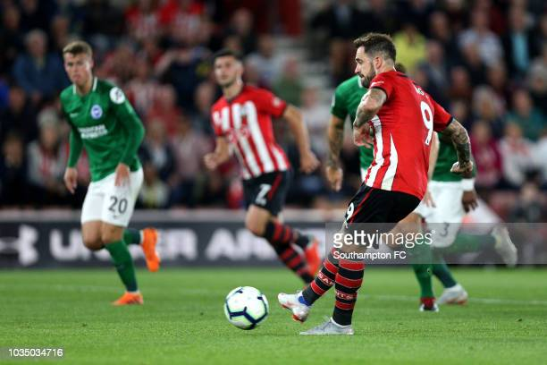 Danny Ings of Southampton scores his team's second goal from the penalty spot during the Premier League match between Southampton FC and Brighton...