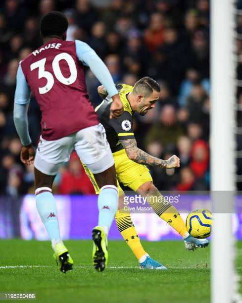 Danny Ings of Southampton scores his team's third goal during the Premier League match between Aston Villa and Southampton FC at Villa Park on...
