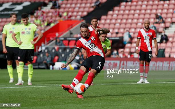 Danny Ings of Southampton scores his team's third goal from the penalty spot during the Premier League match between Southampton FC and Sheffield...