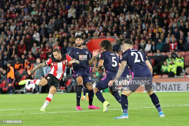 Danny Ings of Southampton shoots at goal during the Premier League match between Southampton and Bournemouth at St Mary's Stadium Southampton on...