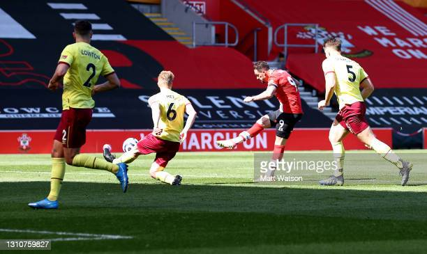 Danny Ings of Southampton shoots at goal during the Premier League match between Southampton and Burnley at St Mary's Stadium on April 04, 2021 in...