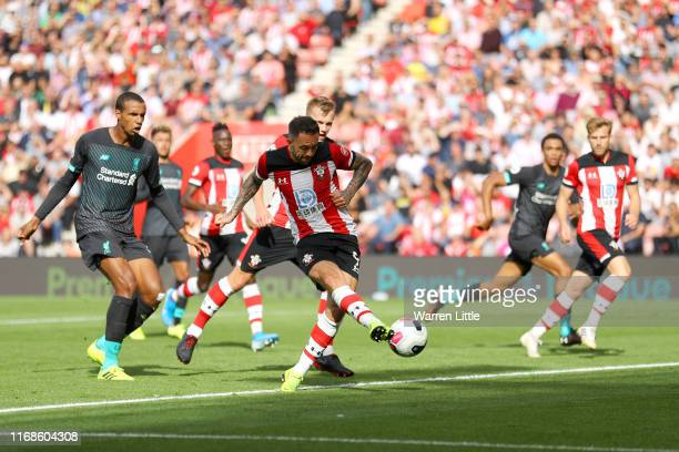 Danny Ings of Southampton shoots during the Premier League match between Southampton FC and Liverpool FC at St Mary's Stadium on August 17 2019 in...